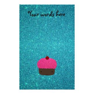 Cute pink glitter cupcake turquoise glitter stationery