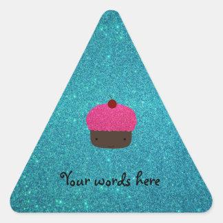 Cute pink glitter cupcake turquoise glitter triangle sticker