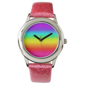 Cute pink glitter rainbow watch