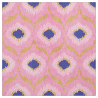 Cute pink gold and blue ikat tribal pattern fabric