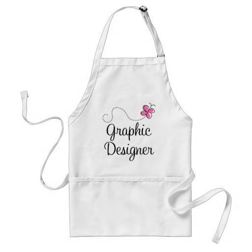 Cute Pink Graphic Designer Apron