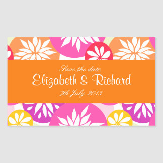 Cute pink green and orange flowers Sticker