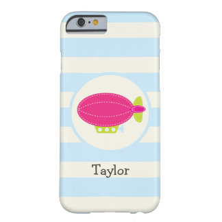 Cute Pink & Green Blimp; Baby Blue Stripes Barely There iPhone 6 Case