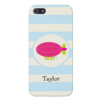 Cute Pink & Green Blimp; Baby Blue Stripes iPhone 5 Case