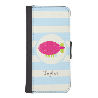 Cute Pink & Green Blimp; Baby Blue Stripes Phone Wallets