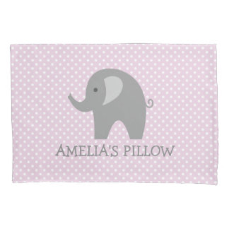 Cute pink grey elephant girls bedroom pillowcase