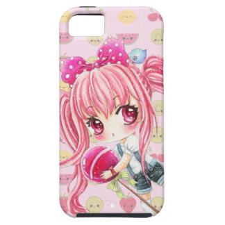 Cute pink haired girl with big lollipop iPhone 5 cover