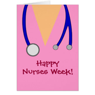 Cute Pink Happy Nurses Week Scrubs and Stethoscope Card
