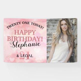 Cute Pink Heart 21st & Legal Photo Birthday Banner