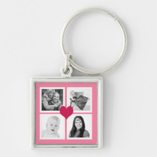 Cute Pink Heart 4 Instagram Photos Collage Key Ring