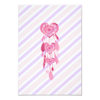 "Cute Pink Heart Dreamcatcher Girly Pastel Stripes 3.5"" X 5"" Invitation Card"