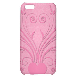 Cute Pink Heart Floral Design Case For iPhone 5C
