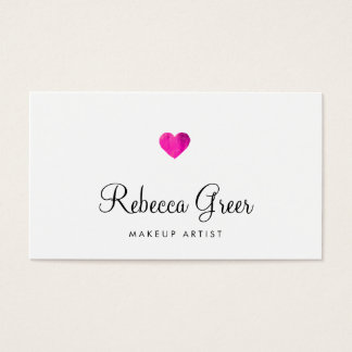 Cute Pink Heart Modern Beauty Consultant Business Card