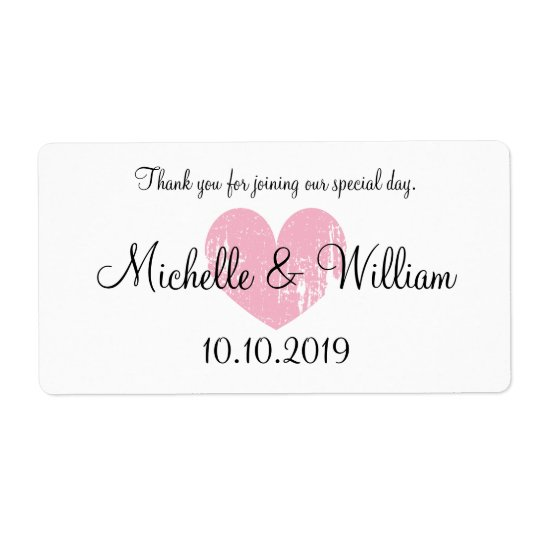 Cute pink heart wedding water bottle labels