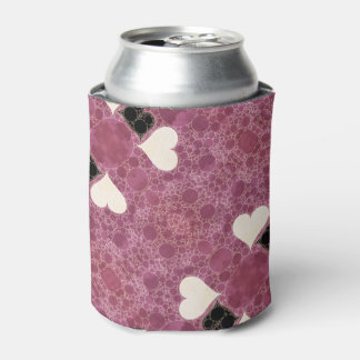 Cute Pink Hearts Abstract Can Cooler