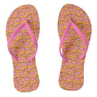 Cute Pink Hearts All Over Pattern on Orange Flip Flops