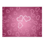 Cute Pink Hearts Background Post Cards
