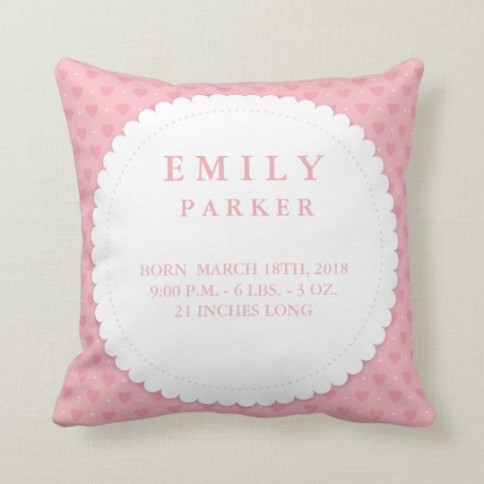 Cute Pink Hearts Birth Announcement Pillow