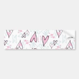 Cute Pink Hearts Love Valentine's Day Design Bumper Sticker