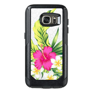 Cute Pink Hibiscus Illustration OtterBox Samsung Galaxy S7 Case