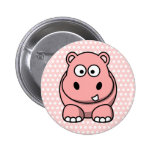 Cute Pink Hippo 6 Cm Round Badge