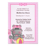Cute Pink Hippo Baby Shower  Invitation