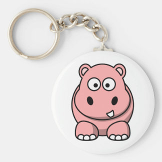Cute Pink Hippo Basic Round Button Key Ring