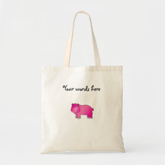 Cute pink hippo budget tote bag