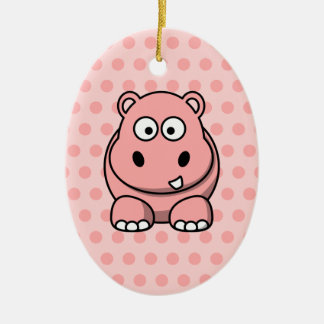 Cute Pink Hippo Christmas Ornament