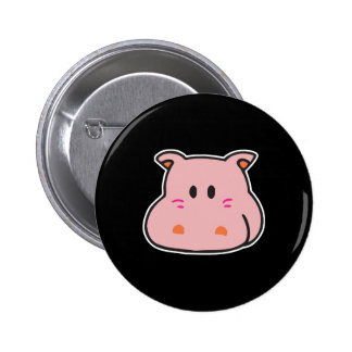cute pink hippo face buttons