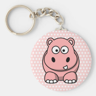 Cute Pink Hippo Key Ring