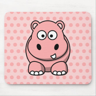 Cute Pink Hippo Mouse Mat