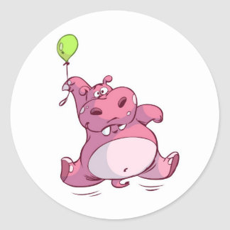 CUTE PINK HIPPO ON BALLOON CLASSIC ROUND STICKER