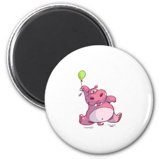 CUTE PINK HIPPO ON BALLOON MAGNET