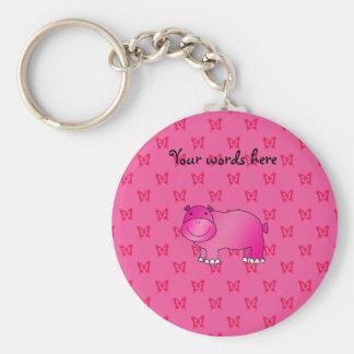 Cute pink hippo pink butterflies key ring