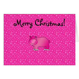 Cute pink hippo pink stars greeting card