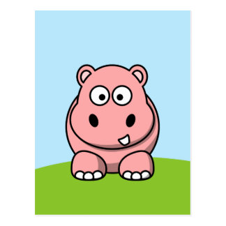 Cute Pink Hippo Postcard