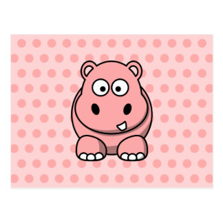 Cute Pink Hippo Post Card