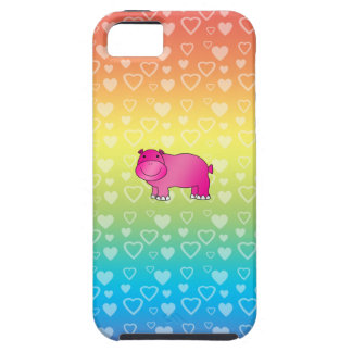 Cute pink hippo rainbow hearts tough iPhone 5 case