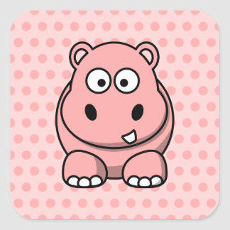 Cute Pink Hippo Square Sticker