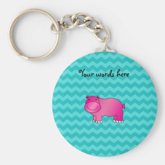 Cute pink hippo turquoise chevrons basic round button key ring