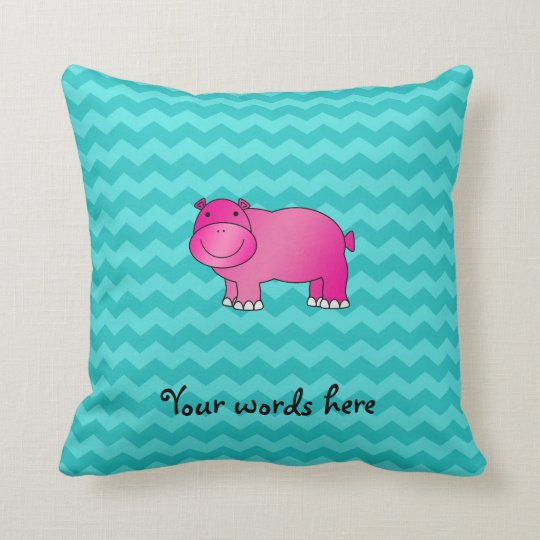 Cute pink hippo turquoise chevrons cushion