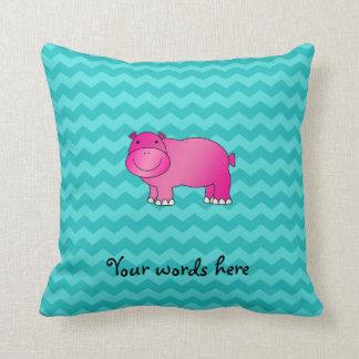 Cute pink hippo turquoise chevrons cushion