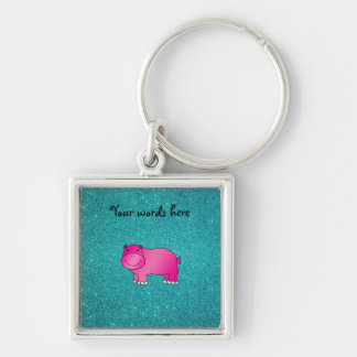 Cute pink hippo turquoise glitter key ring