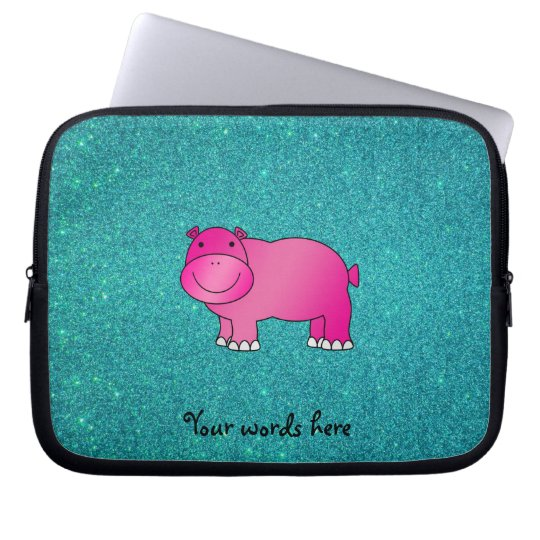 Cute pink hippo turquoise glitter laptop sleeve