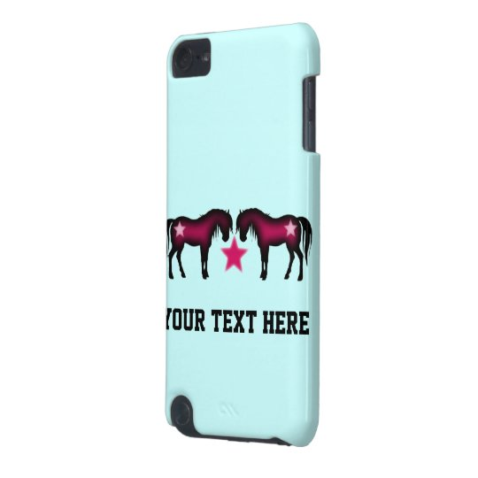 Cute Pink Horses On Blue iPod Touch 5G