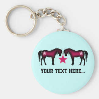 Cute Pink Horses On Blue Key Ring