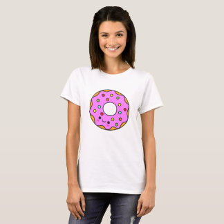 Cute Pink Kawaii Donut Doughnut Cartoon Sweet Food T-Shirt