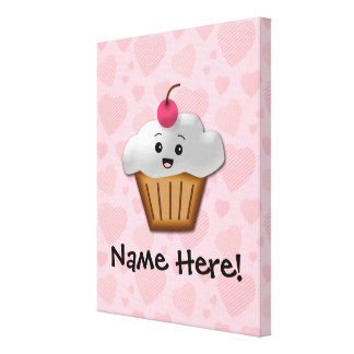 Cute Pink Kawaii Happy Face Cupcake Girls Gallery Wrapped Canvas