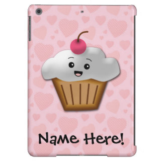 Cute Pink Kawaii Happy Face Cupcake Girls iPad Air Case